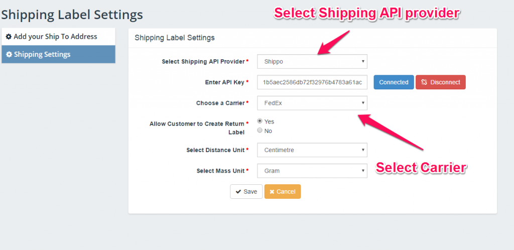Shipping Settings Screen